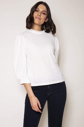 Rowen Avenue Tops Anglaise Top in Ivory