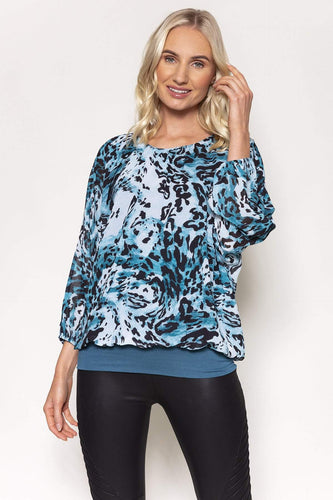Pala D'oro Tops Green / S/M / Long Sleeve Animal Print Blouse in Teal