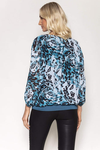 Pala D'oro Tops Animal Print Blouse in Teal