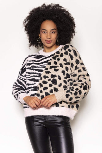 Nova of London Jumpers Animal / S/M Animal Print Jumper in Beige