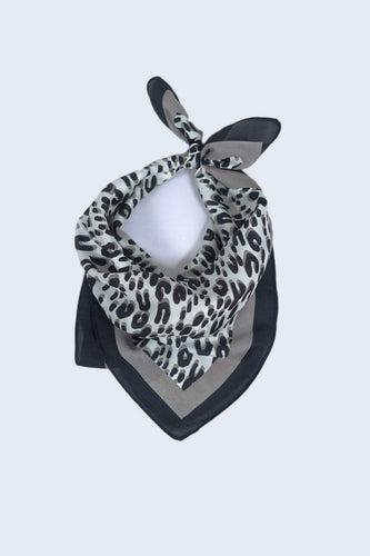 SOUL Accessories Scarves Grey Animal Print Neckerchief in Grey