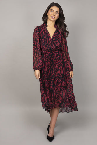 Pala D'oro Dresses Teal / S Animal Print Wrap Dress in Black and Red