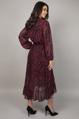 Pala D'oro Dresses Animal Print Wrap Dress in Black and Red