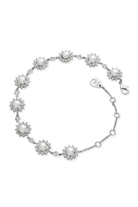 Tipperary Crystal Jewellery Bracelets Silver Antique Daisy Pearl Bracelet
