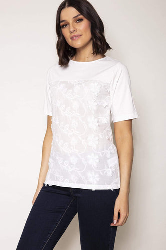 Kelly & Grace Weekend Tops White / S / Short Applique Top in Ivory