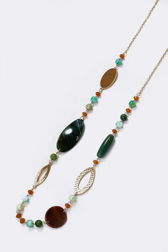 Soul Jewellery Necklaces Gold Aqua Beaded Gem Stone Necklace