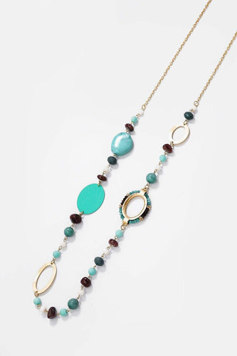 Soul Jewellery Necklaces Gold Aqua Beaded Necklace