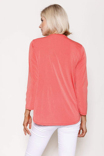 Pala D'oro Tops Basic Crossover Top in Coral