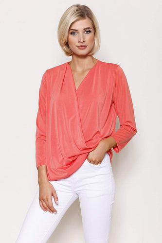 Pala D'oro Tops Coral / S/M / Long Sleeve Basic Crossover Top in Coral