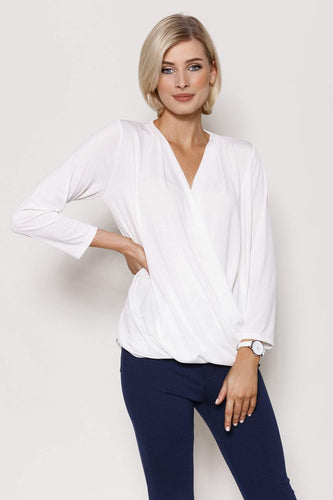 Pala D'oro Tops Ecru / S/M / 3/4 Sleeve Basic Crossover Top in Ecru