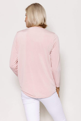 Pala D'oro Tops Basic Crossover Top in Pink