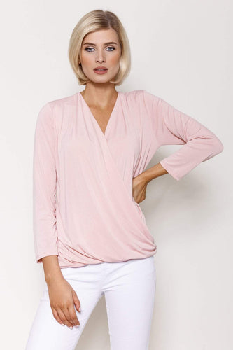 Pala D'oro Tops Pink / S/M / 3/4 Sleeve Basic Crossover Top in Pink