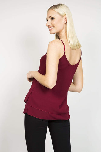 Pala D'oro Tops Basic Layered Cami Top in Burgundy