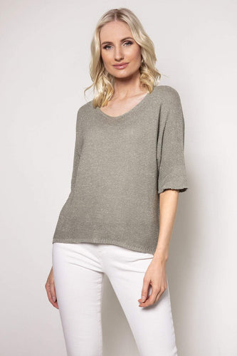 Pala D'oro Jumpers Khaki / S/M Basic Lurex Knit in Khaki