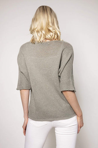 Pala D'oro Jumpers Basic Lurex Knit in Khaki
