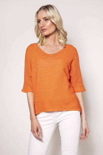 Pala D'oro Jumpers Orange / S/M Basic Lurex Knit in Orange