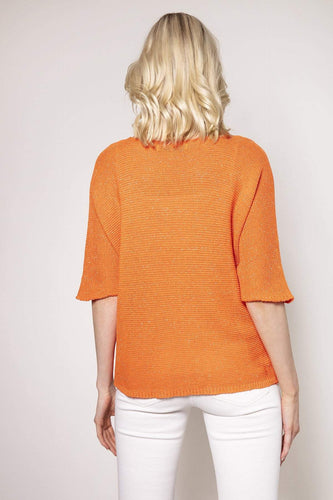 Pala D'oro Jumpers Basic Lurex Knit in Orange