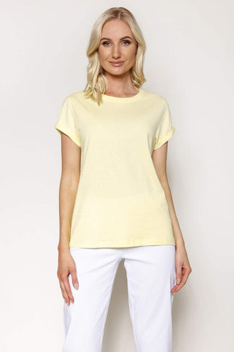 Kelly & Grace Weekend Tops Yellow / XS / Short Sleeve Basic Tee in Yellow