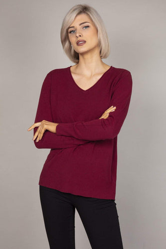 J'aime la Vie Jumpers Red Basic V-Neck Knit in Raspberry