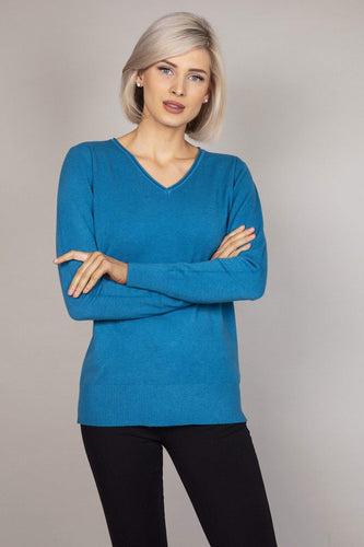 J'aime la Vie Jumpers Teal Basic V-Neck Knit in Teal