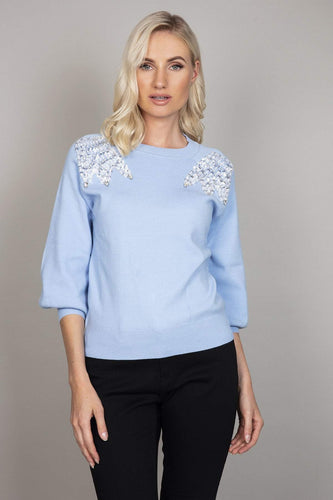Darling Jumpers Blue / 10 Beaded Shoulder Jumper in Blue