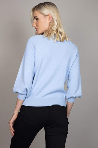 Darling Jumpers Beaded Shoulder Jumper in Blue