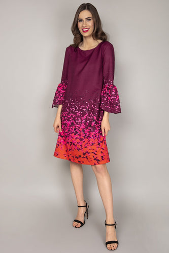 Rowen Avenue Dresses Purple / 8 / Over The Knee Bell Sleeve Dress in Purple