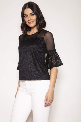 Nova of London Tops Black / XS / 3/4 Sleeve Bell Sleeve Lace Flower Trim Top in Black