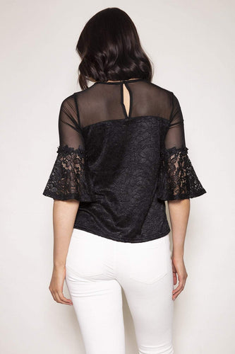 Nova of London Tops Bell Sleeve Lace Flower Trim Top in Black