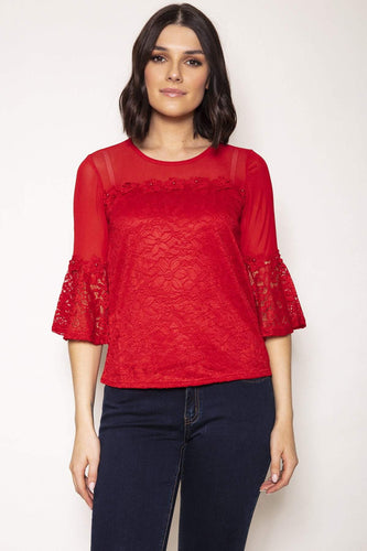 Nova of London Tops Bell Sleeve Lace Flower Trim Top in Red