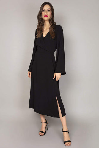 Rowen Avenue Dresses Black / 8 / Midi Bell Sleeves Dress in Black