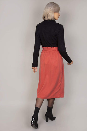 Rowen Avenue Skirts Belted Button Front Skirt in Brick