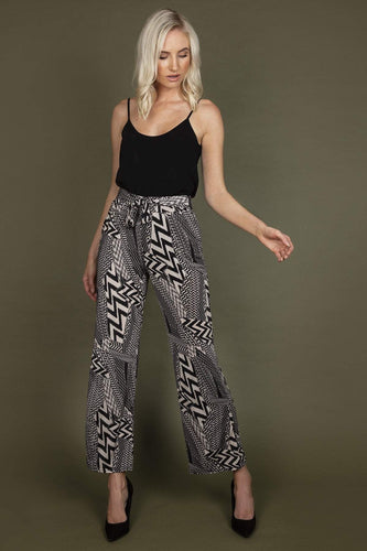 J'aime la Vie Trousers Belted Trousers in Black Print