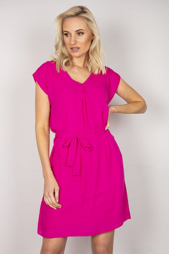 J'aime la Vie Dresses Pink / 10 / Over the knee Belted V-Neck Dress in Fuchsia