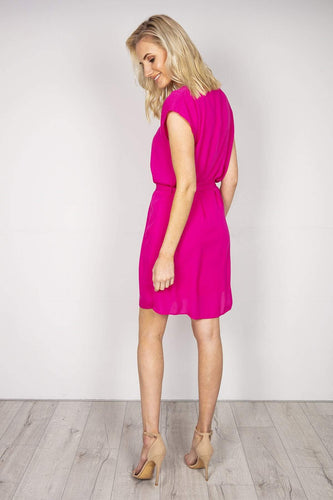 J'aime la Vie Dresses Belted V-Neck Dress in Fuchsia