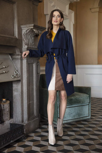 Pala D'oro Coats Navy / S/M Belted Wrap Coat in Navy