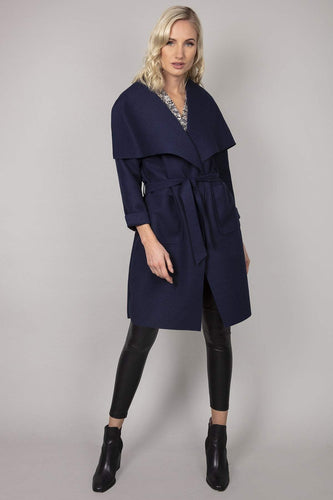 Pala D'oro Coats Belted Wrap Coat in Navy