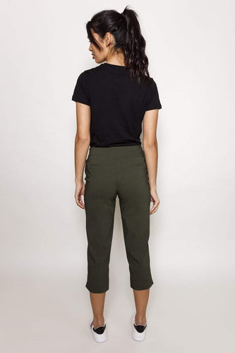 Kelly & Grace Weekend Trousers Bengaline Crop Pants in Khaki