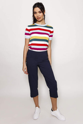 Kelly & Grace Weekend Trousers Navy / 8 Bengaline Crop Pants in Navy