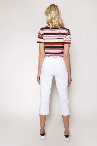 Kelly & Grace Weekend Trousers Bengaline Crop Pants in White