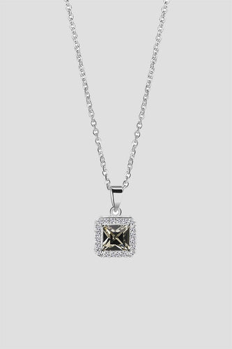 Newbridge Silverware Necklaces Black Stone Square Pendant in Silver