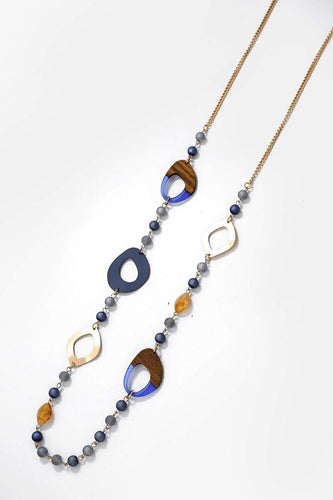 Soul Jewellery Necklaces Gold Blue Beaded Gem Stone Necklace