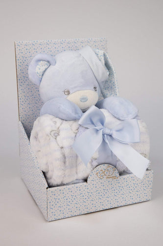 Carraig Donn HOME Blankets Blue Teddy and Blanket Gift Set