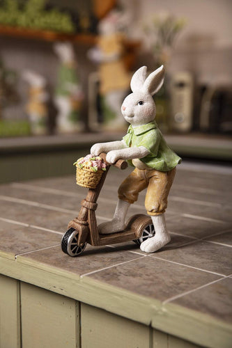 Carraig Donn HOME Easter Ornaments Bobby Bunny on Scooter