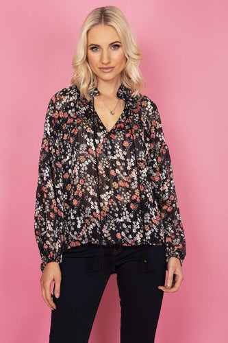 Rowen Avenue Tops Black / S Boho Ruffle Top in Black