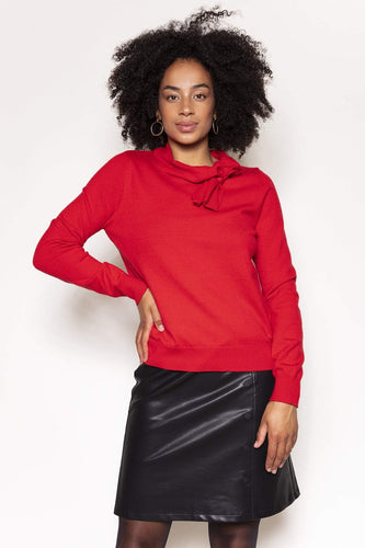 Rowen Avenue Jumpers Red / S / Long Sleeve Bow Neck Knit in Red