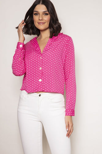 Nova of London Tops Pink / 8 / Long Sleeve Boxy Button Front Shirt in Pink