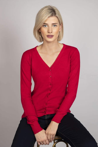 J'aime la Vie Cardigans Red / One Button Cardigan in Red