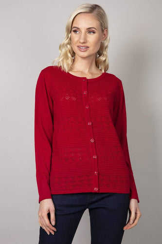 Voulez Vous Cardigans Red / S Button Cardigan in Red