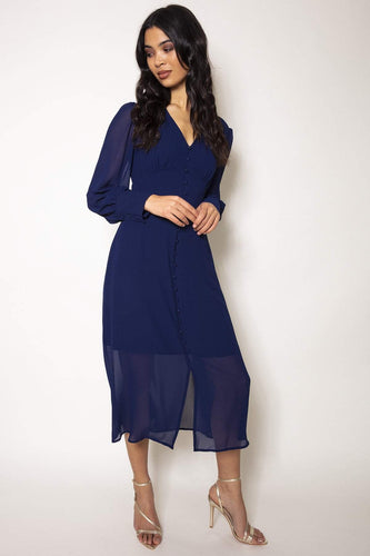 Rowen Avenue Dresses Navy / 8 / Midi Button Front Dress in Navy